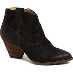 Frye Reina Black Distressed Western Ankle Boots